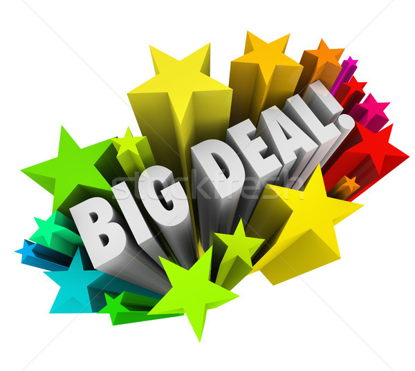 Big Deal Words Stars Fireworks Important News Sale Stock photo © iqoncept