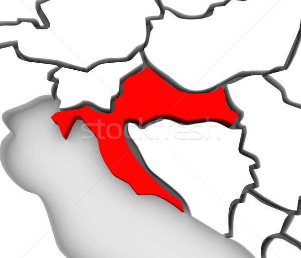 Croatia Country Abstract 3D Map Eastern Europe Stock photo © iqoncept