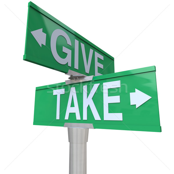 Give and Take Double Road Signs Greedy or Charitable Stock photo © iqoncept