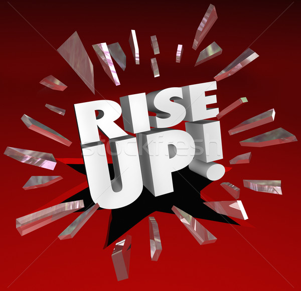 Rise Up Words Break Through Glass Growth Improvement Stock photo © iqoncept