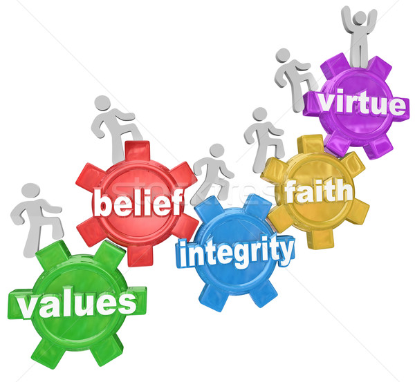 Gears Going Up Values Belief Integrity Faith Virtue Stock photo © iqoncept