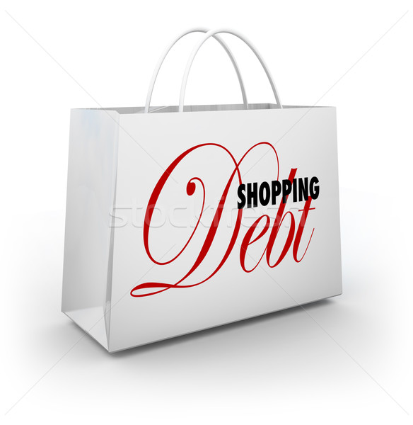 Panier dette compulsif Shopping mots sac Photo stock © iqoncept