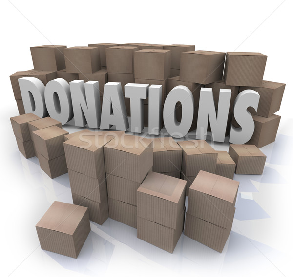 Donations Word Cardboard Boxes Charity Drive Collection Warehous Stock photo © iqoncept