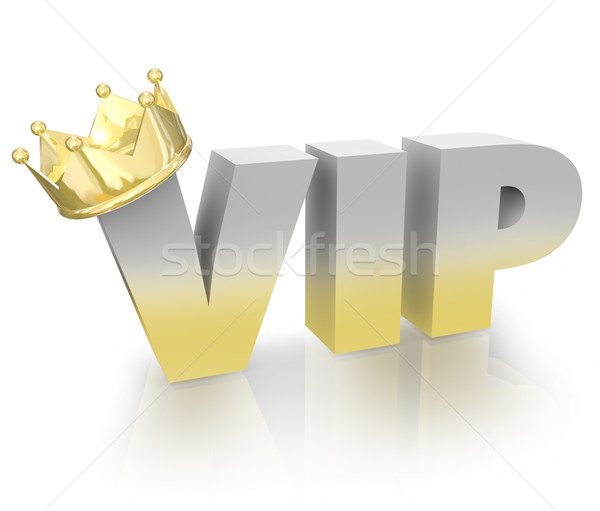 VIP Very Important Person Gold Crown Official King Executive Stock photo © iqoncept