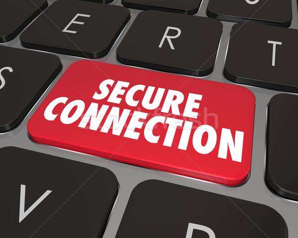 Biztonságos kapcsolat számítógép billentyűzet kulcs internet online Stock fotó © iqoncept