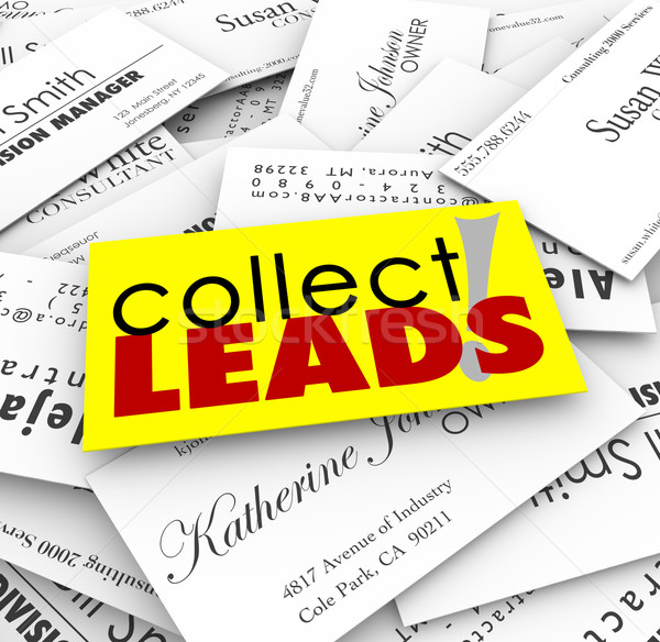Collect Leads Business Cards New Customer Prospects Names Stock photo © iqoncept