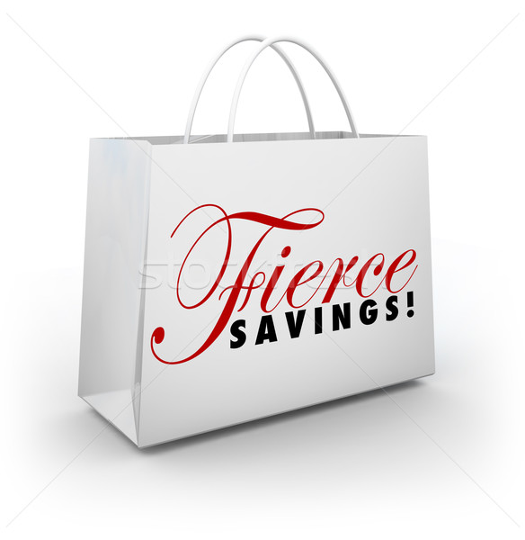 Fierce Savings Discount Sale Shopping Bag Buying Spree Stock photo © iqoncept