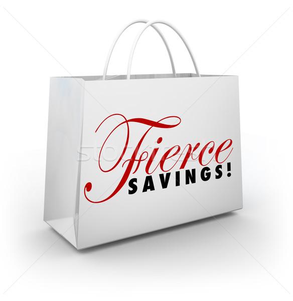 Vad megtakarított pénz árengedmény vásár bevásárlószatyor vásárol Stock fotó © iqoncept