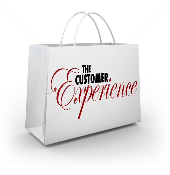 Vásárló tapasztalat bevásárlószatyor szavak vevő vásárló Stock fotó © iqoncept