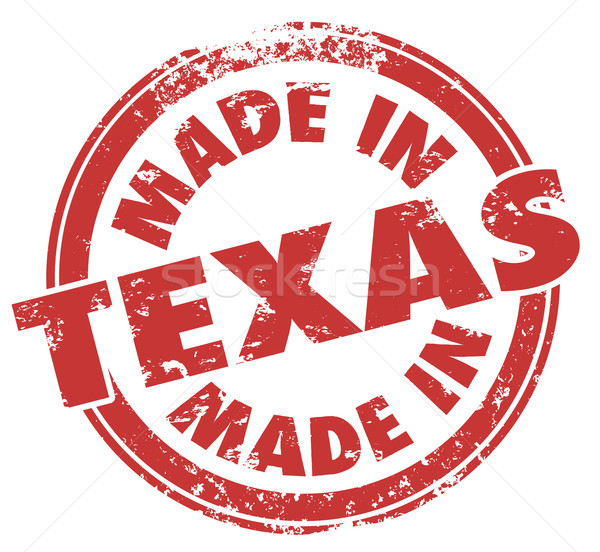 Made in Texas Round Stamp Words TX State Pride Stock photo © iqoncept
