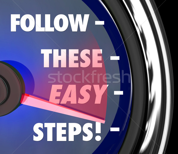 Follow These Easy Steps Speedometer Instructions How To Tips Adv Stock photo © iqoncept