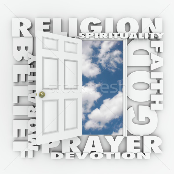 Religion Faith Belief Door Opening to Follow God or Spirituality Stock photo © iqoncept