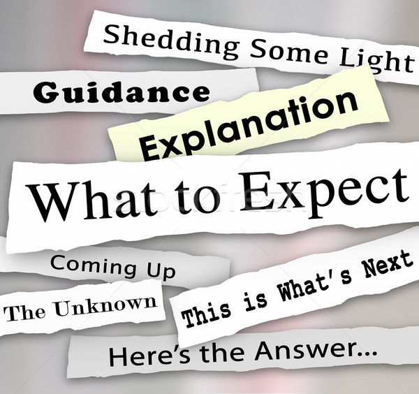 What to Expect Newspaper Headlines Guidance Explanation Stock photo © iqoncept