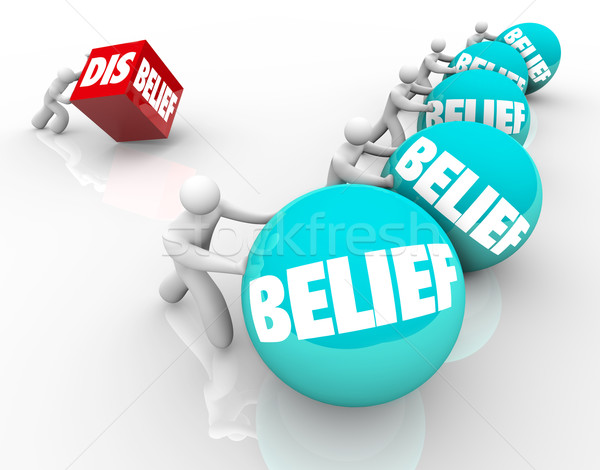 Belief Vs Disbelief Doubter Loses to People with Faith Success C Stock photo © iqoncept