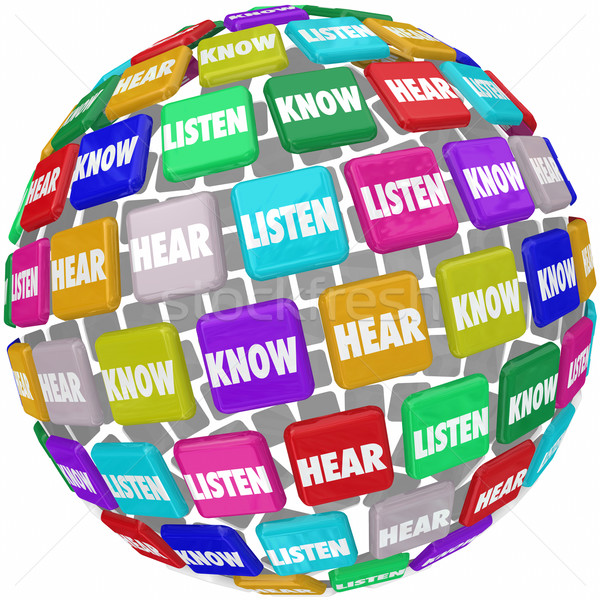 Listen Hear Know Words Tiles Globe Pay Attention Learn Education Stock photo © iqoncept