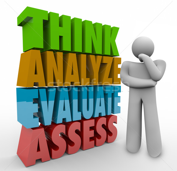 Think Analyze Evaluate Assess 3d Words Thinking Person Stock photo © iqoncept