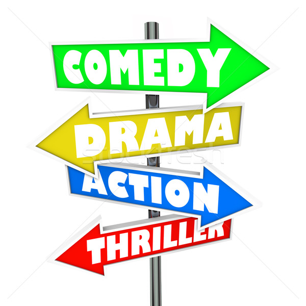 Genre: Comedy Drama Action Thriller Movie Genre Signs Stock Photo