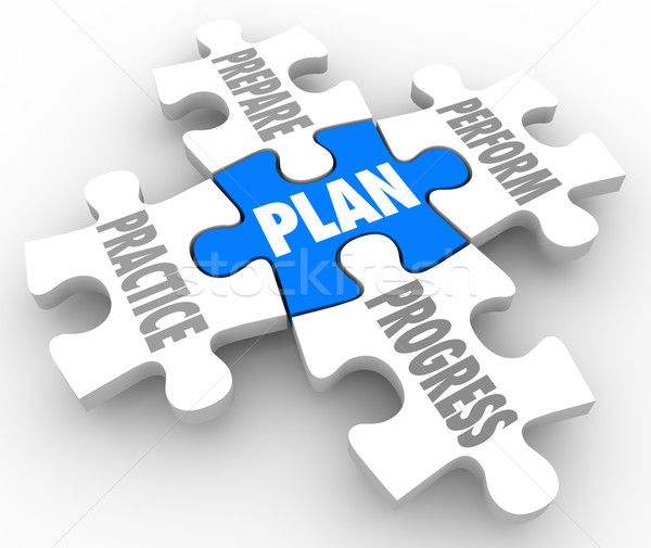 Plan Practice Prepare Perform Progress Puzzle Pieces Succeed Lif Stock photo © iqoncept