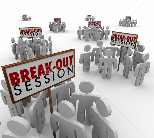 Break Out Sessions People Around Signs Small Group Meetings Stock photo © iqoncept