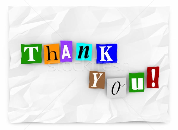 Thank You Note Message Cutout Ransom Letters 3d Illustration Stock photo © iqoncept