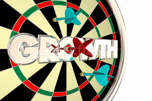 Growth Dart Board Increase Improve Target Word 3d Illustration Stock photo © iqoncept