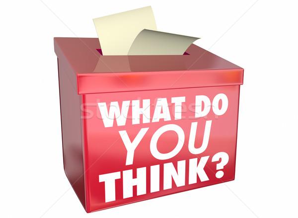 O que pensar opinião pensamentos caixa ilustração 3d Foto stock © iqoncept