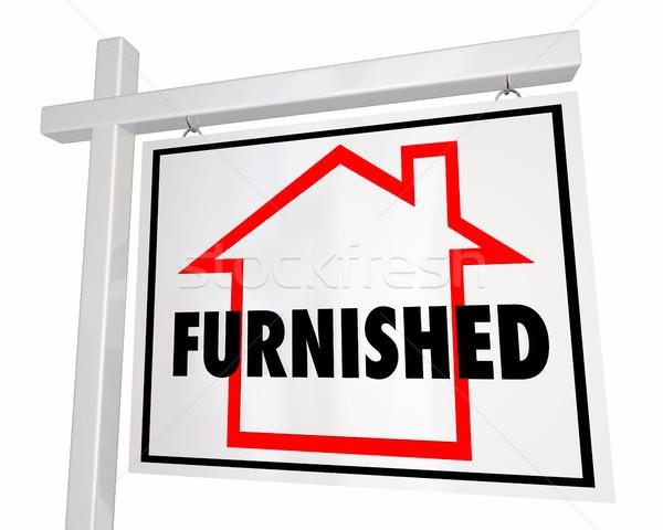 Furnished Home for Sale House Real Estate Sign 3d Illustration Stock photo © iqoncept