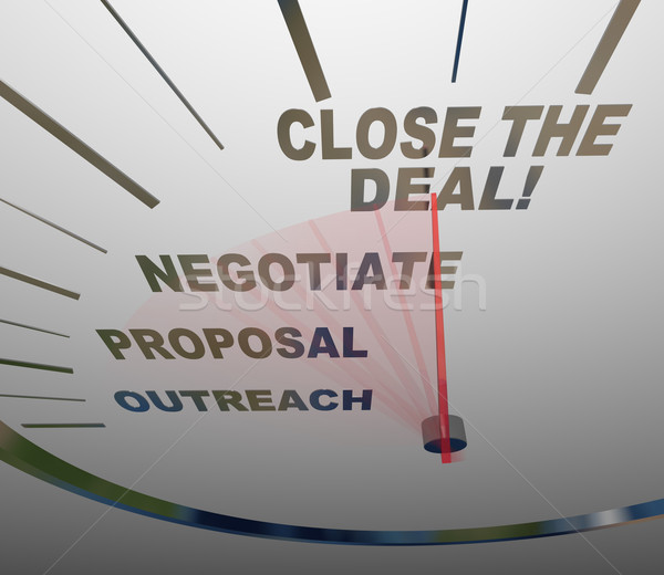 Close the Deal Speedometer Sales Process to Agreement Stock photo © iqoncept