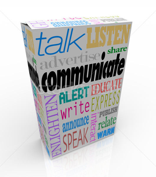 Communication Words on Box Sharing Ideas and Messages Stock photo © iqoncept
