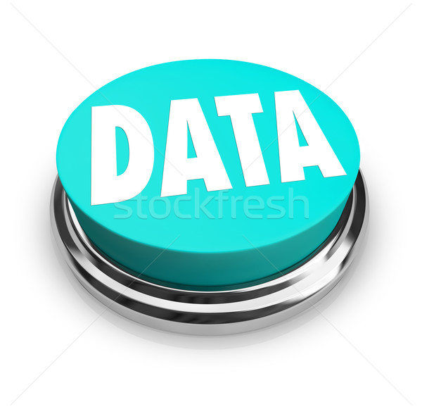 Data Word on Blue Round Button Information Measurement Stock photo © iqoncept