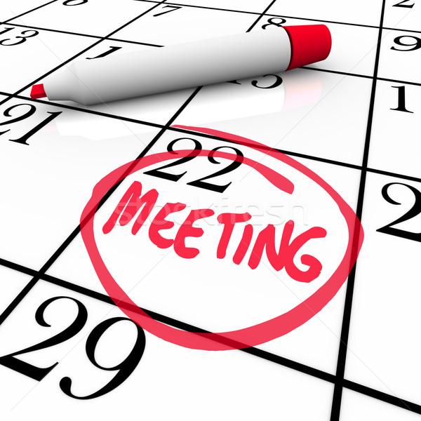Sitzung Wort Kalender rot Marker Kreise Stock foto © iqoncept