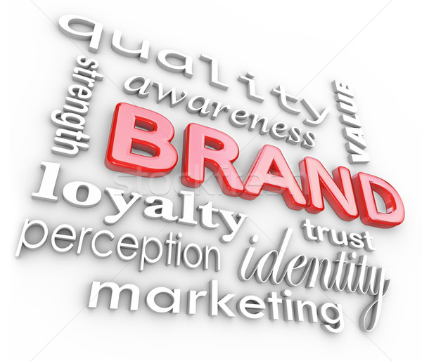 Stockfoto: Merk · marketing · woorden · bewustzijn · loyaliteit · branding