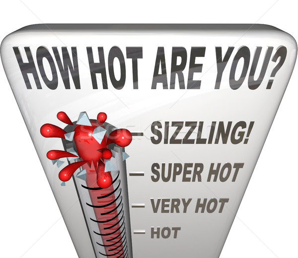 How Hot Are You Words Thermometer Attractive Sexy Stock photo © iqoncept