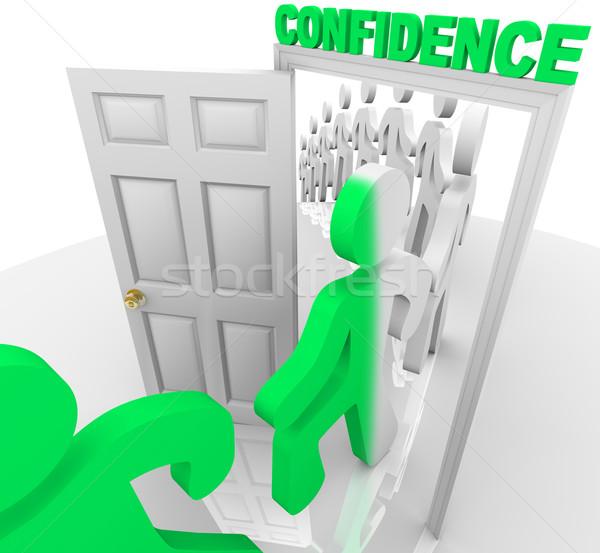 Vertrouwen deuropening lijn mensen stap man Stockfoto © iqoncept