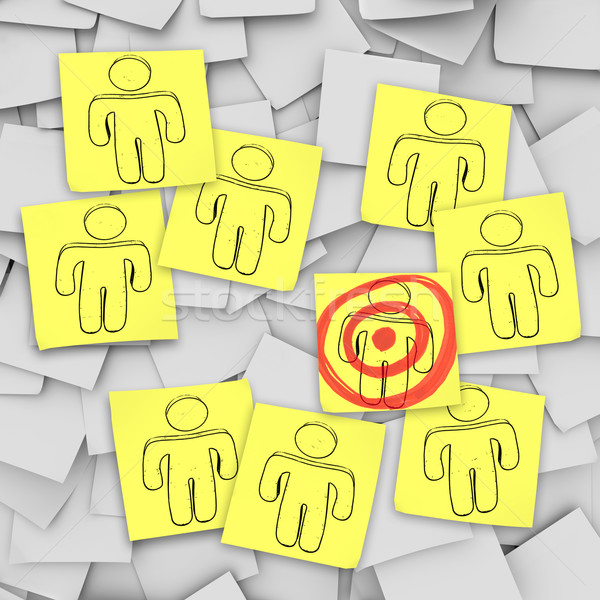Targeted Customer in Bulls-Eye - Sticky Notes Stock photo © iqoncept