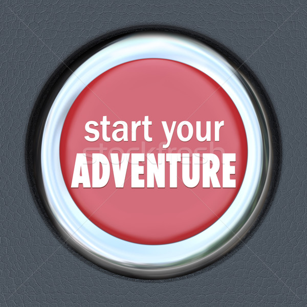 Start Your Adventure Red Button Begin Fun Experience Stock photo © iqoncept