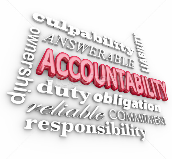 Accountability 3d Word Collage Responsibility Culpability Duty Stock photo © iqoncept