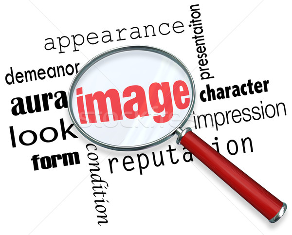 Image Magnifying Glass Appearance Impression Demeanor Words Stock photo © iqoncept