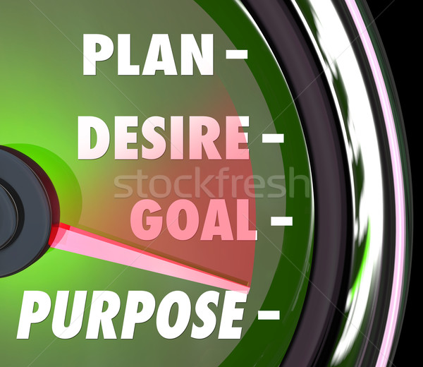 Purpose Plan Desire Goal Speedometer Gauge Measure Meaningful Su Stock photo © iqoncept