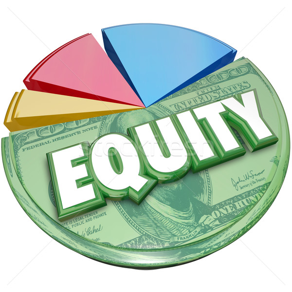 Equity 3d Word Pie Chart Stocks Equities Loan Balance Investment Stock photo © iqoncept