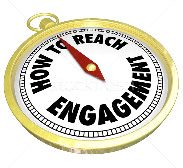 Atteindre engagement or boussole interaction mots Photo stock © iqoncept