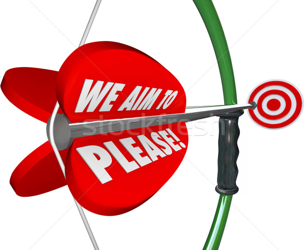 We Aim to Please Words Bow Arrow Customer Satisfaction Service Stock photo © iqoncept