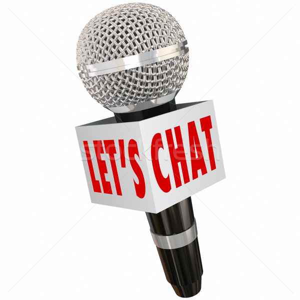 Let's Chat Microphone Box Interview Talk Discussion Stock photo © iqoncept