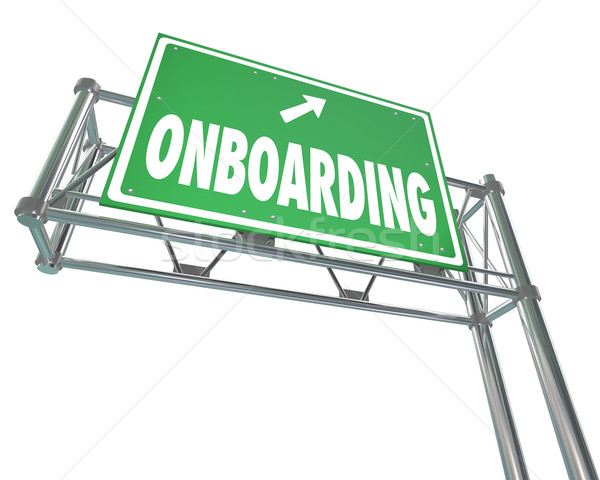 Onboarding Freeway Sign New Employee Introduction Welcome Stock photo © iqoncept