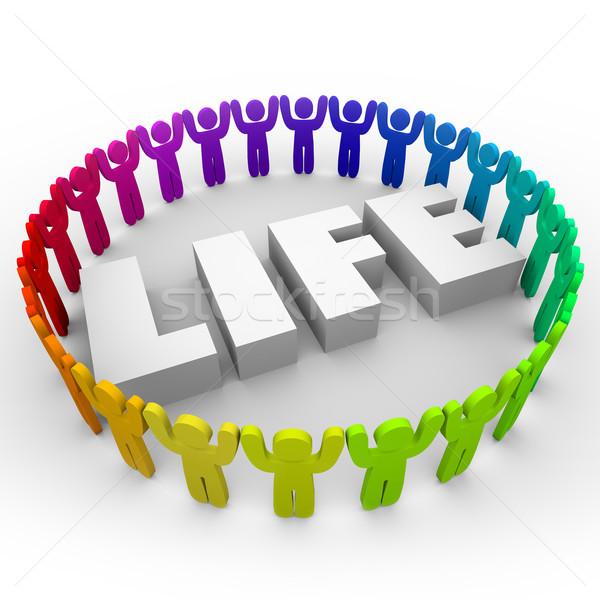 Vida palavra diverso pessoas vida juntos Foto stock © iqoncept