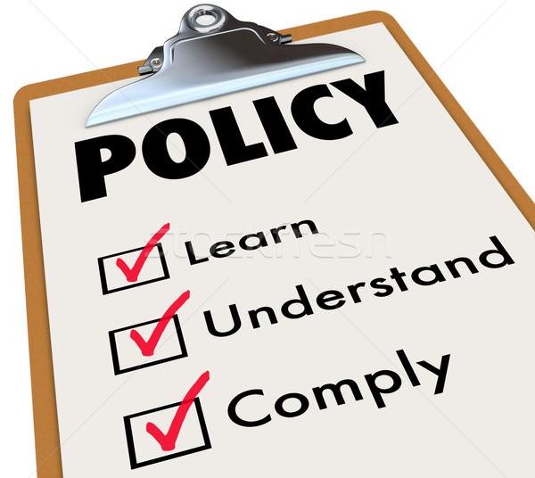 Politik Regeln Zwischenablage lernen Wort Stock foto © iqoncept