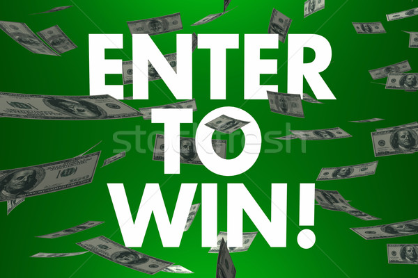Enter to Win Falling Money Cash Prize Jackpot Lottery Stock photo © iqoncept