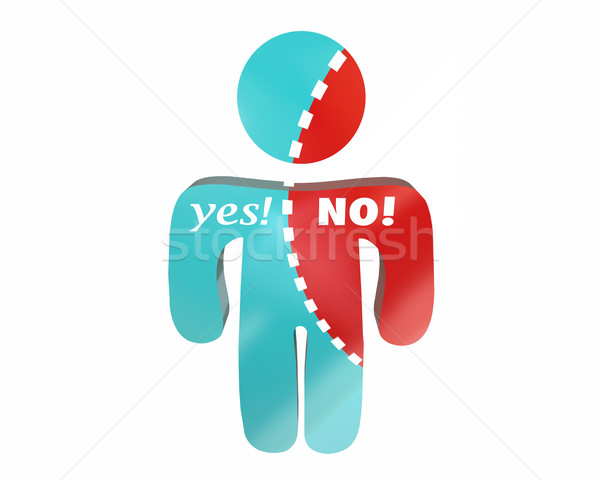 Yes No Person Words Undecided Voting Torn Words 3d Stock photo © iqoncept