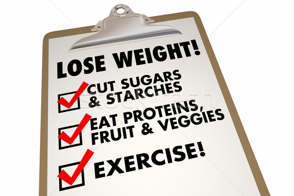 Lose Weight Checklist Clipboard Eat Exercise Words 3d Illustrati Stock photo © iqoncept