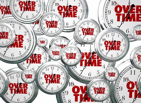 Overtime Extra Added Bonus Work Clocks Flying 3d Illustration Stock photo © iqoncept
